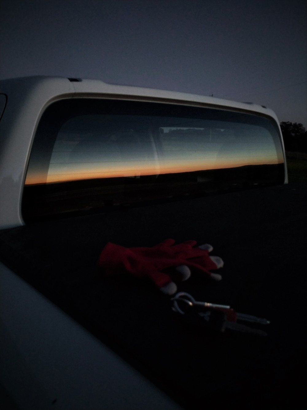 Sunset reflection in truck window