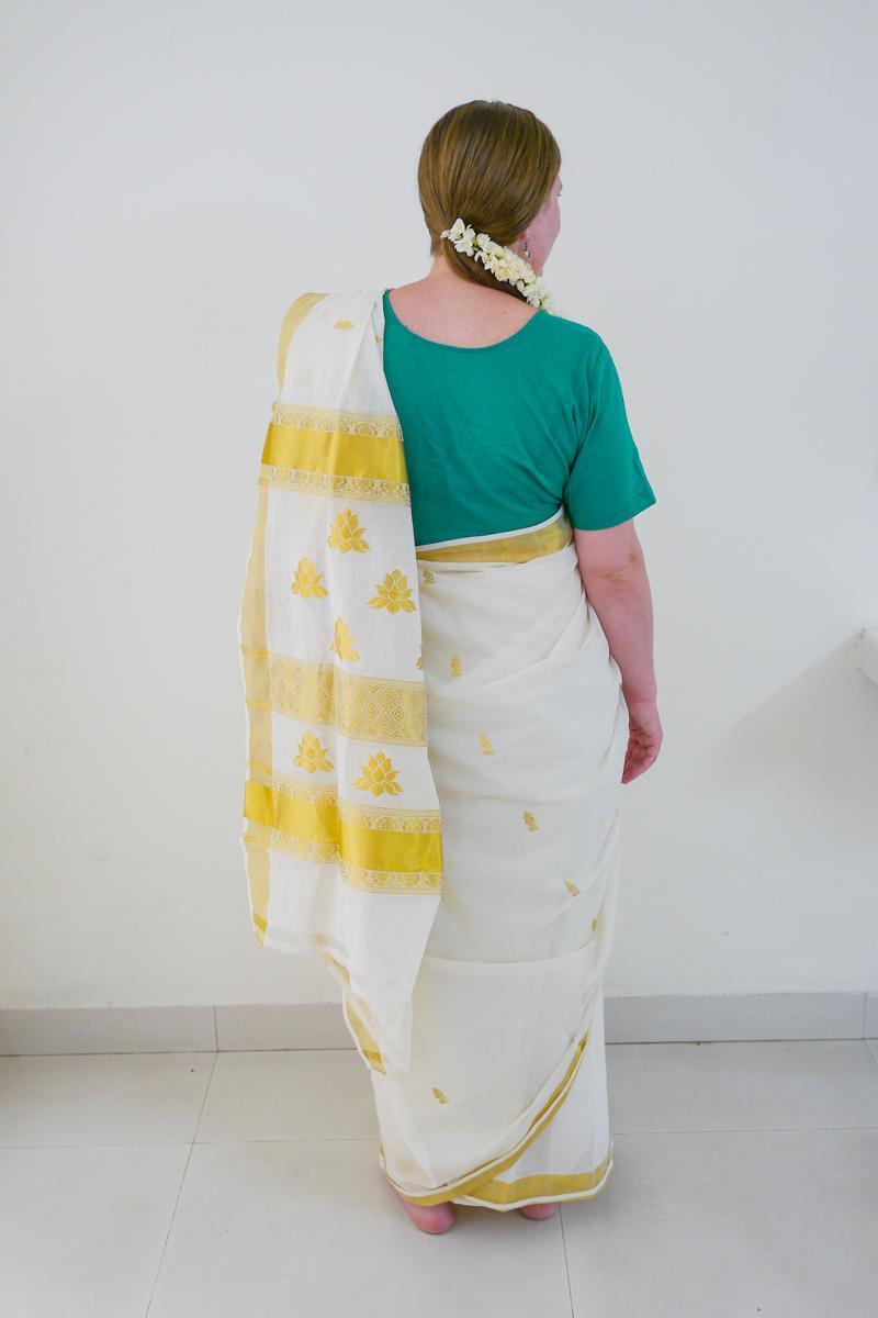Mango pattern + jasmine blossoms in my hair