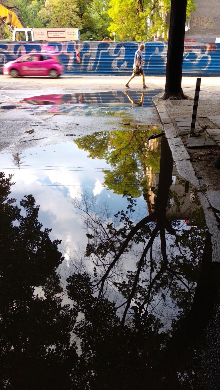 Street puddle Sofia Bulgaria