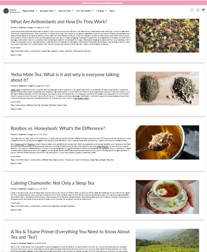 Matcha Alternatives Blog Sample Posts