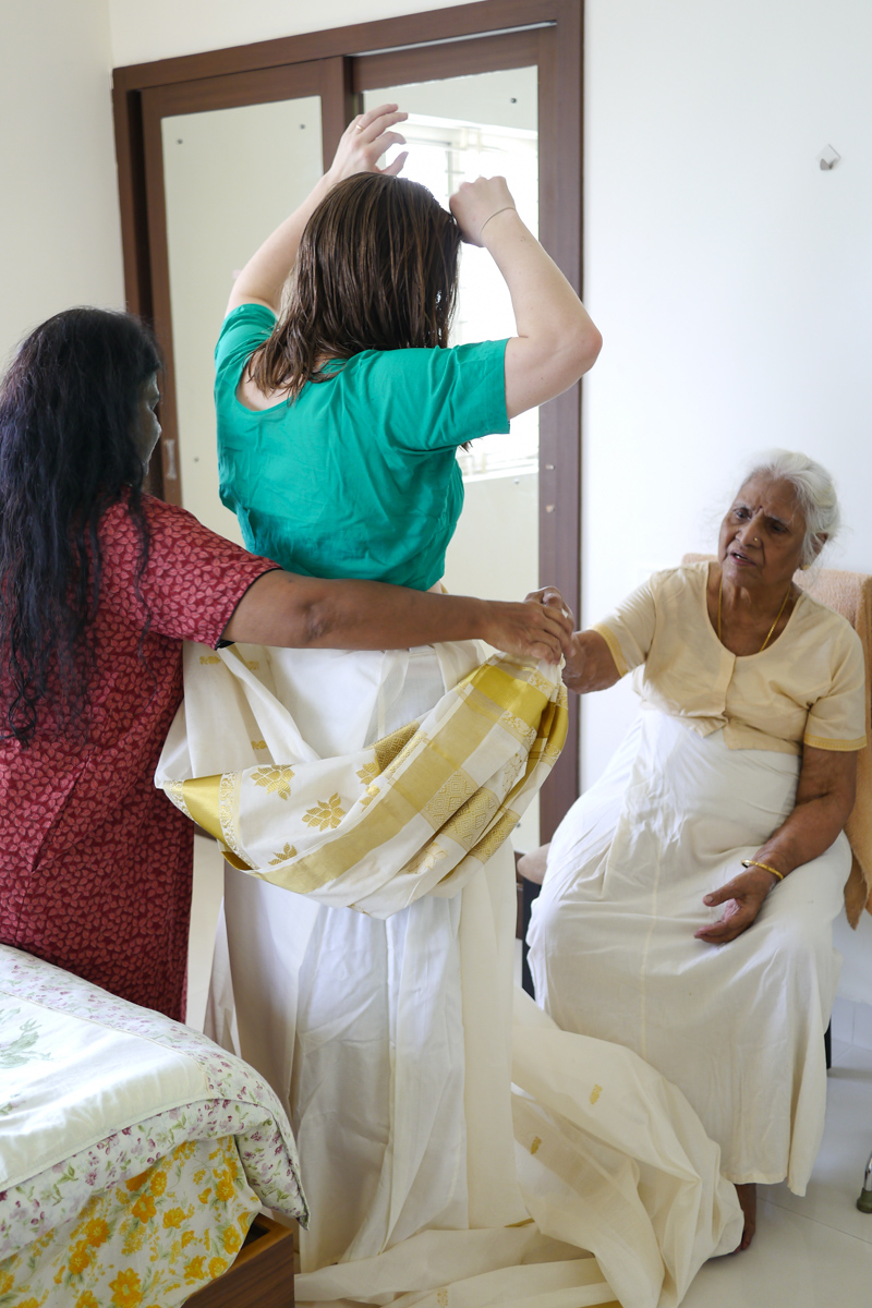 Cotton sarees are much trickier to pleat properly than silk ones...!