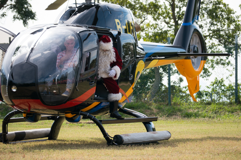 The arrival of Santa by helicopter is an age-old tradition dating back to the late Middle Ages
