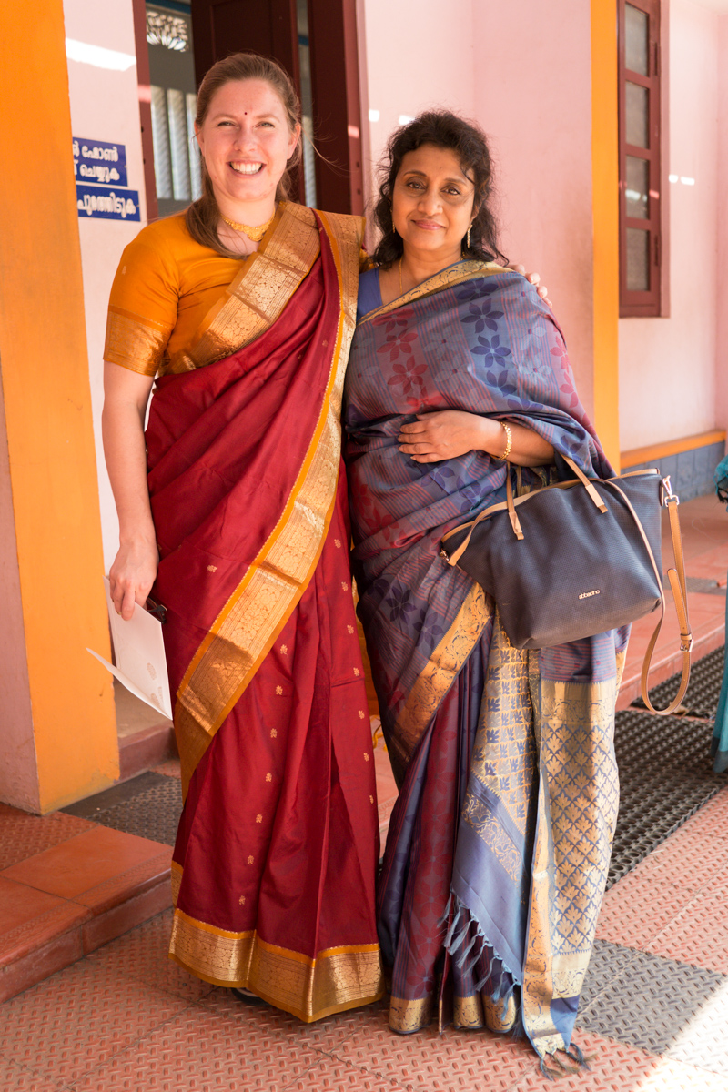 Silk sarees are lighter, cooler and much easier to pleat correctly. They also hold colour beautifully: We were dressed somberly by comparison to most of the guests.