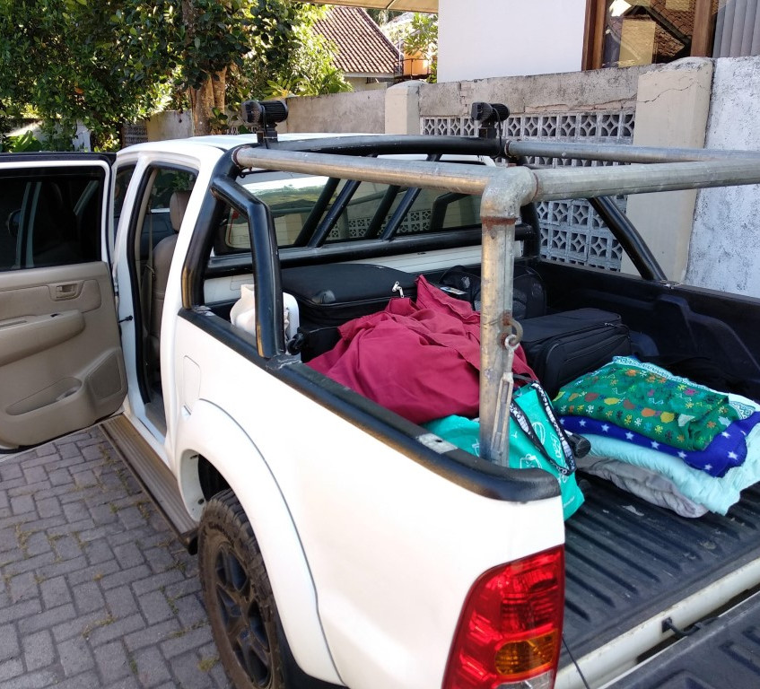 Full of our salvaged luggage and blankets
