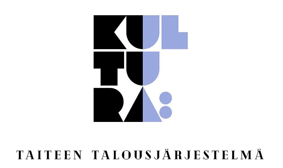 Kultura – taiteen talousjärjestelmä. Kuva logosta, jossa mustaa ja lilaa.
