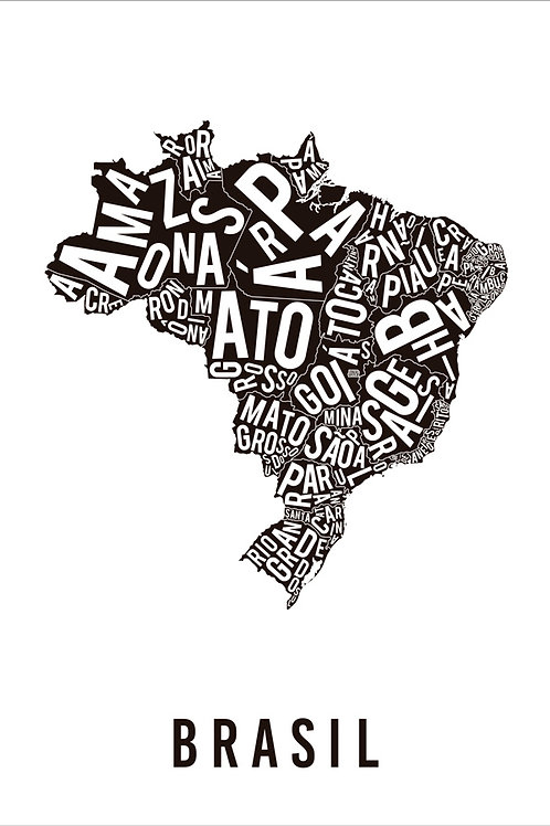 MAPA TIPOGRÁFICO BRASIL BRANCO
