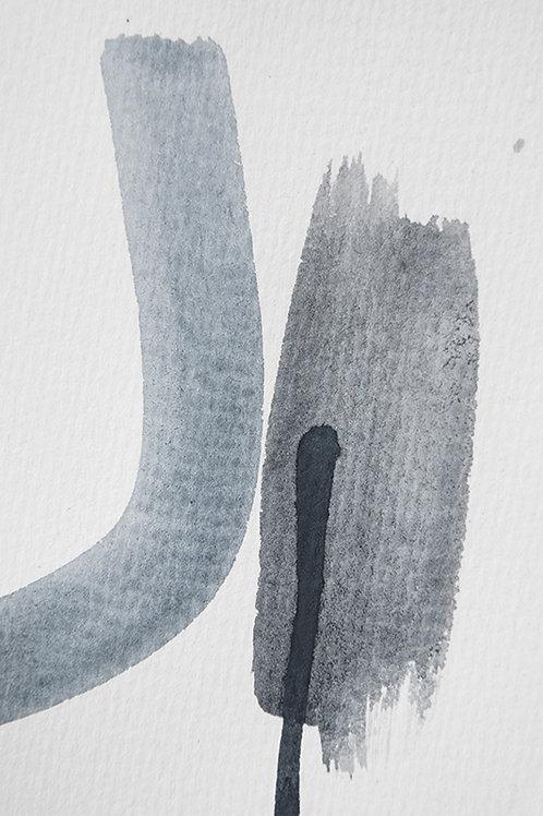AQUARELLE MEETS PENCIL - BLUE AND BLACK