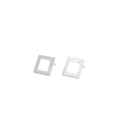 square shape silver studs