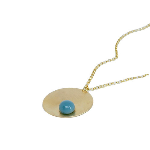 gold plated silver necklace with blue glass