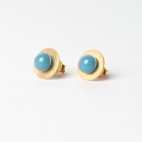 gold plated silver studs with blue glass detail