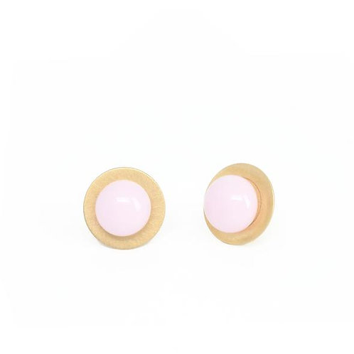 gold plated silver studs with rose glass detail