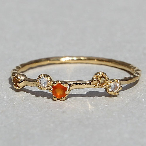 gold plated silver ring with moonstone, citrin and carnelian