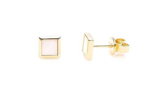 Gold plated silver studs with square shape detail and white agate stone