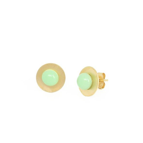 gold plated silver studs with mint glass detail