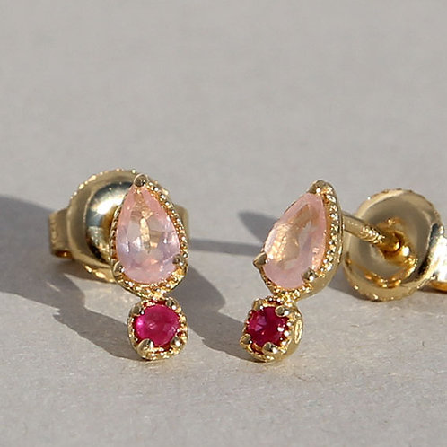Gold plated silver studs with rubies and rose quartz