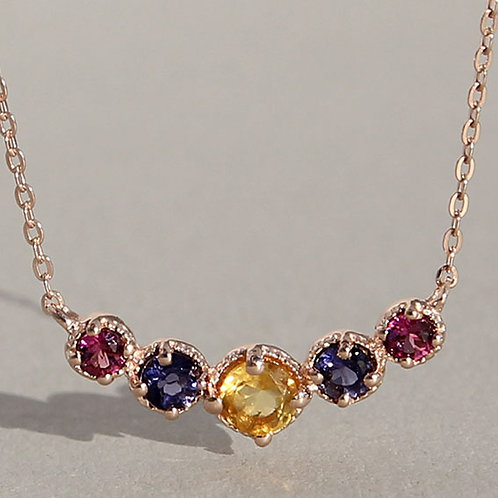 Gold plated silver necklace with rhodolite, citrin and iolite
