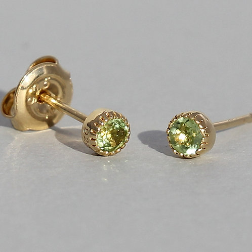 Gold Plated Silver Studs With Peridot