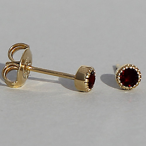 Gold plated silver studs with garnet