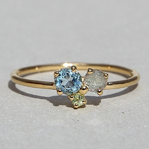 Gold Plated Silver Ring With Topaz, Prehnit and Labradorit