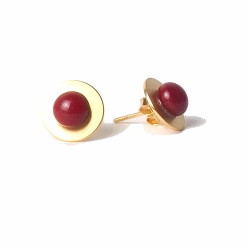 gold plated silver studs with red glass detail
