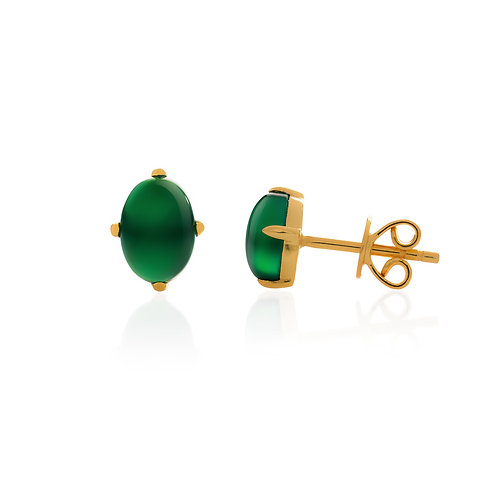 silver studs with green chrome chalcedony 18k gold vermeil