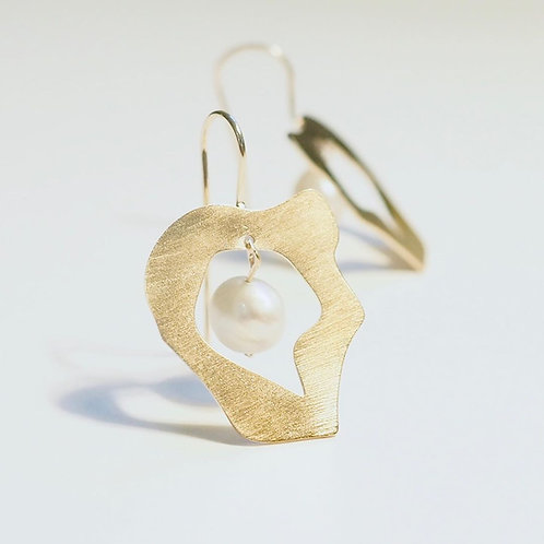 """Gold Plated Silver Earrings """"Afrodita"""" With Baroque Pearl"""