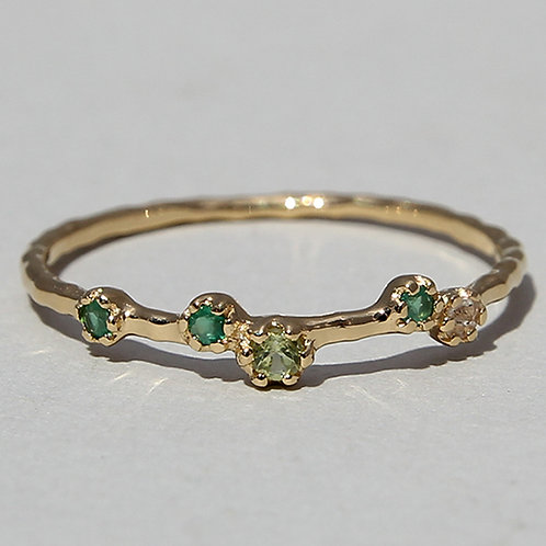 gold plated silver ring with agate, peridot and labradorite