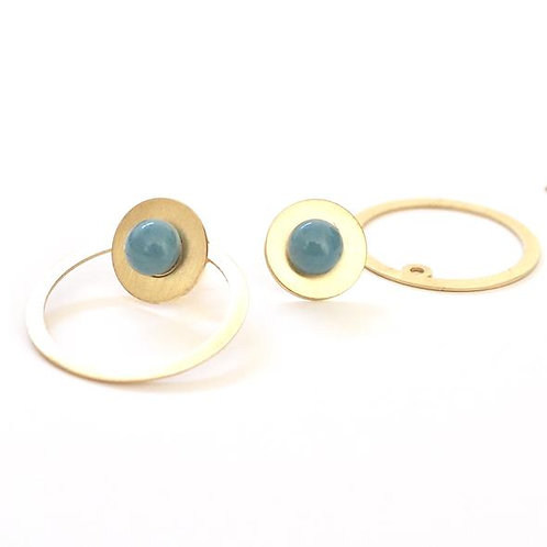 Gold plated silver earrings with blue glass detail