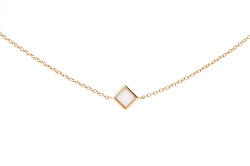 Gold plated silver bracelet with square shape detail and white agate stone