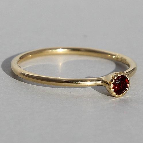 Gold plated silver ring with garnet