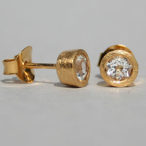 Gold plated silver studs with white topaz