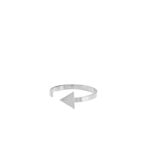 Adjustable silver ring with triangle detail