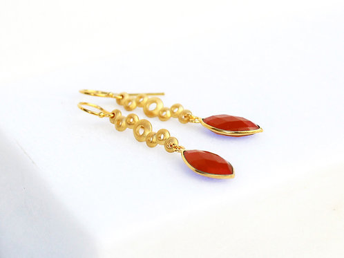 gold plated silver earrings with orange carnelian stone