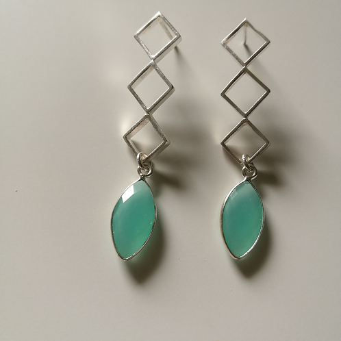 silver earrings with aqua chalcedony