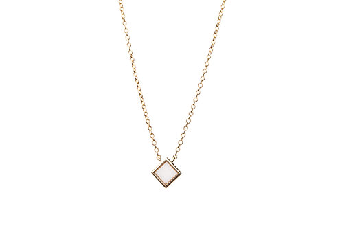 Gold plated silver necklace with square shape detail and white agate stone