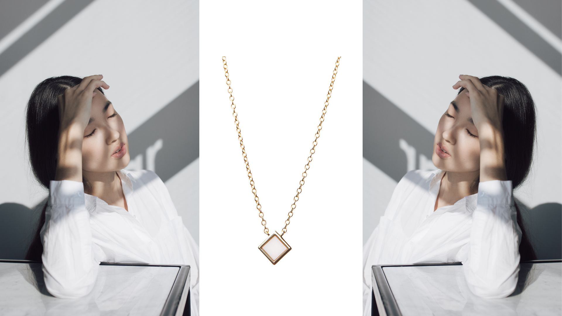 gold plated silver necklace with white a