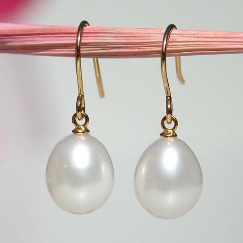 gold plated silver earrings with freshwater pearls