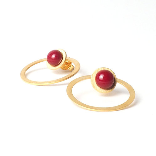 gold plated silver earrings with red glass detail
