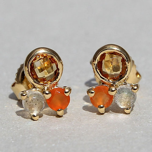 gold plated silver studs with natural stones
