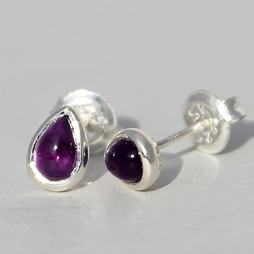 silver studs with amethyst