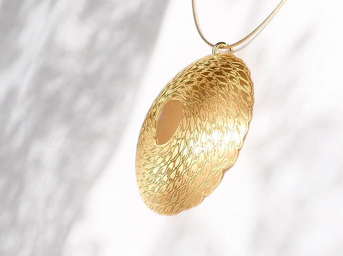 gold plated silver necklace with disc detail
