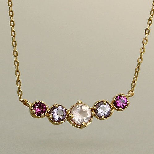 Gold plated silver necklace with amethyst, rhodolite and rose quartz
