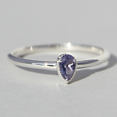 Silver ring with jolite stone