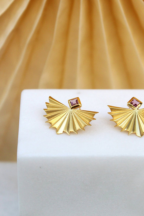 gold plated silver earrings with pink tourmaline