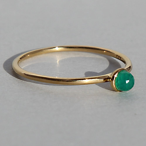 gold plated silver ring with agate stone