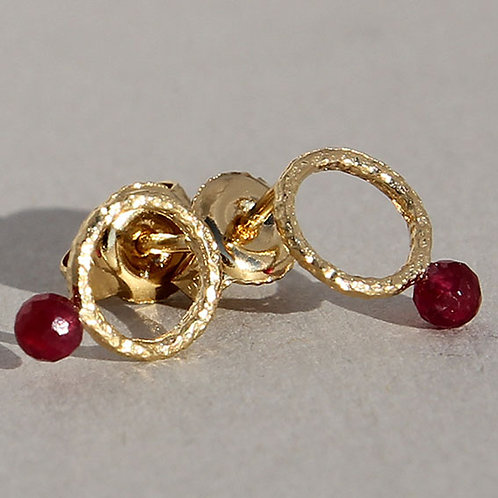 Gold plated sterling silver earrings with rubies