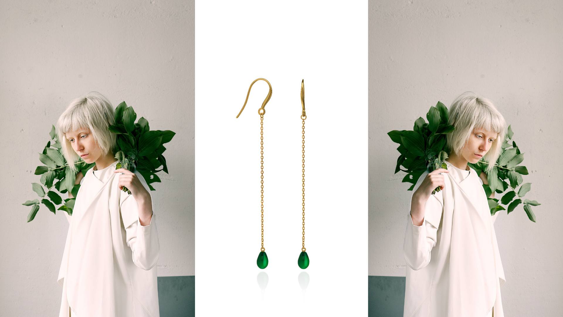 gold plated silver earrings with green c