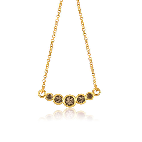 gold plated silver necklace with smoky quartz