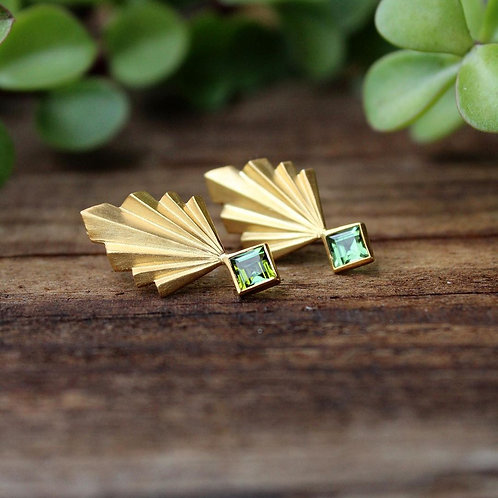 gold plated silver earrings with green tourmaline