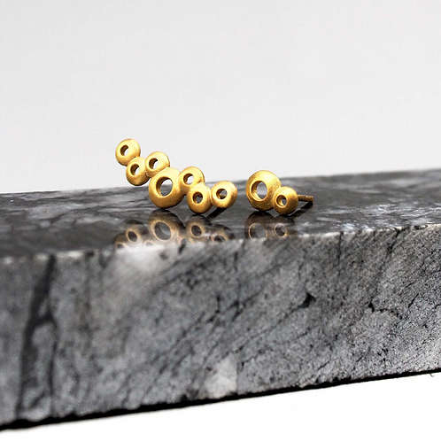 gold plated silver cuff earrings from bubbles